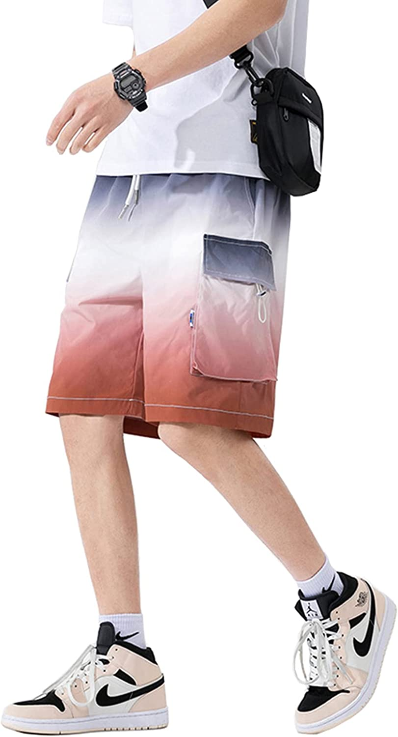 Floette Men's Fashion Gradients Colors Cargo Shorts with Multi Pocket Casual Relaxed Youth Teenager