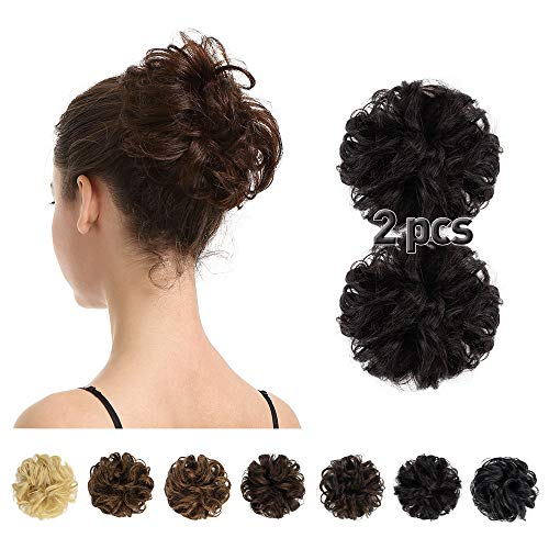100% Human Hair Bun,BARSDAR 2 PCS Messy Bun Hair Piece With Elastic Rubber Band Curly Natural Ponytail Extension Hairpiece for Women/Kids Tousled Updo Chignons(2PCS, Natural Black)