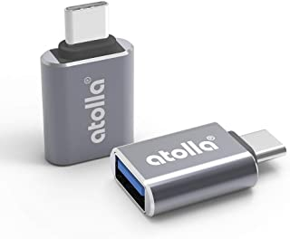 USB Type C変換アダプタ、atolla USB-C to USB A 3.0変換コネクタ【2個セット】 MacBook Pro 2018/2017, Macbook air, Dell XPS 13&15, Sony Xperia XZ/XZ2, Samsung Galaxy 対応 USB C to USB 3.1 Gen1 OTG 5Gbpsの超高速データ転送アルミニウム合金製