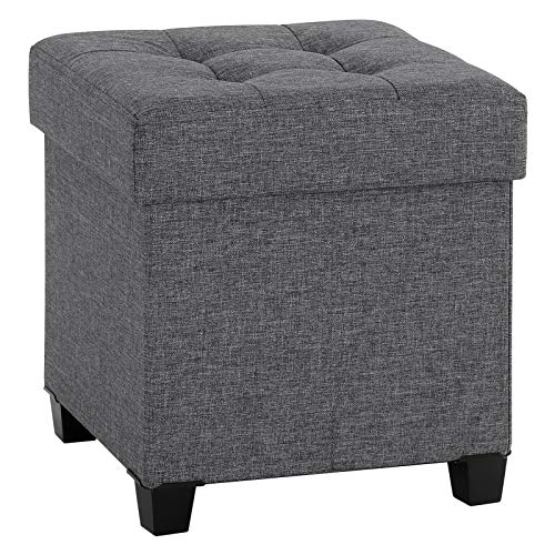 SONGMICS Collapsible Cube Storage Ottoman/Foot Stool/Comfortable Seat/with Wooden Feet and Lid, Dark Grey ULSF14GYZ