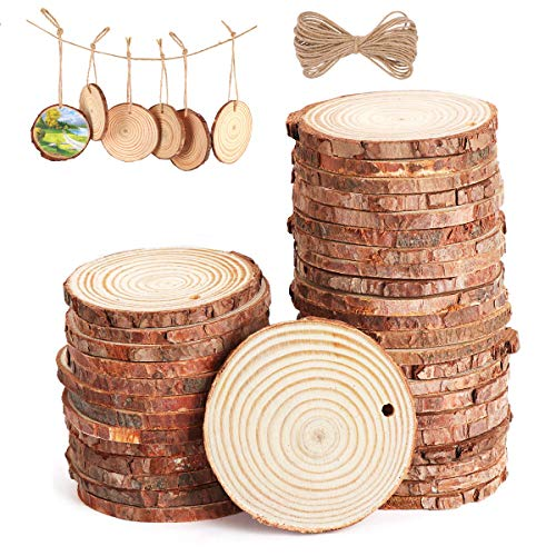 木材チップZJW 装飾用木材チップ 結婚式 パーティー 誕生日 装飾品 撮影用 小物 DIY 装飾 部屋飾り物 木製カード DIY 手芸材料 円形 穴付き 直径5-8cm エコ 天然 多用途 工芸品 (30枚セット+10M縄)