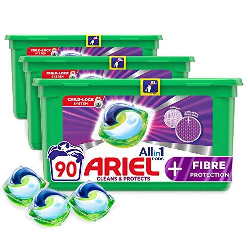 Ariel Capsules de lessive liquide tout-en-1 + protection des fibres, 90 lavages