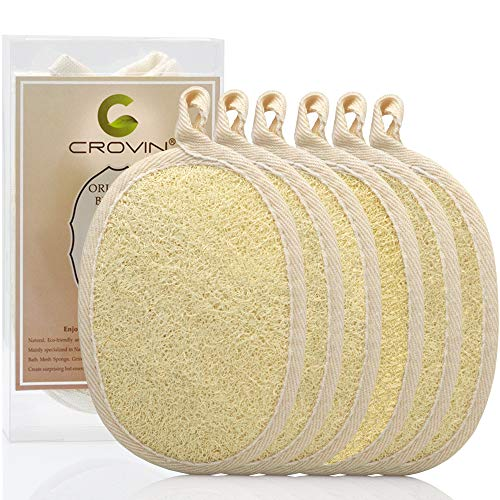 Crovin Loofah Pads - Exfoliating Loofah Body Scrubber 100% Natural Bath Sponge for Men and Women's SPA - 6 Packs Gifts Luffa Package,Perfect for Bath Shower
