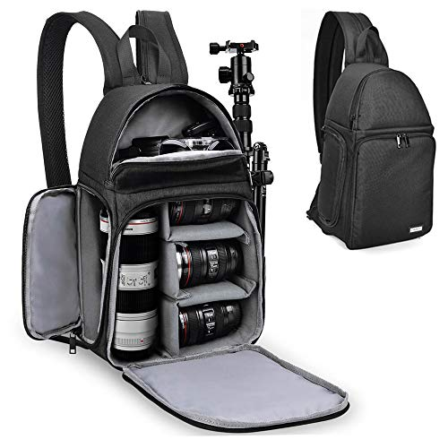 CADeN DSLR Camera Sling Backpack , Camera Backpack Bag with Tripod Holder, Side Access and Modular Inserts Compatible with Mirrorless Cameras Canon Nikon Sony Pentax(Black)