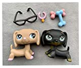 Lovely Toy lps Dachshund #1751#640 Tan and Brown Puppy Pink Star Eyes Blue Eyes with Accessories Lot Collection Gift