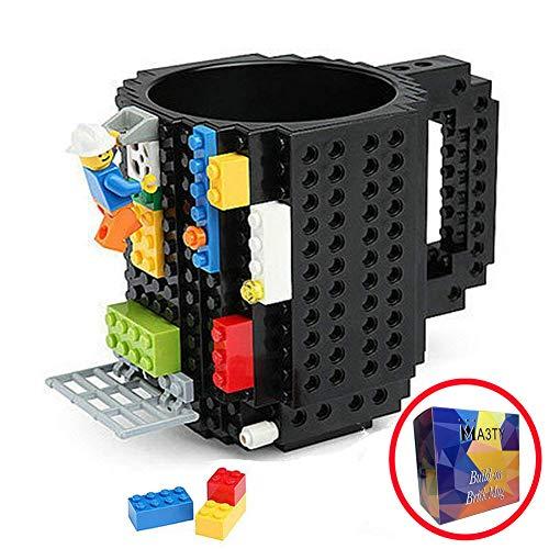 Taza de ladrillo para manualidades, diseño creativo de bloques de construcción, tazas de café, novedad regalo de Navidad, plástico, Negro actualizado