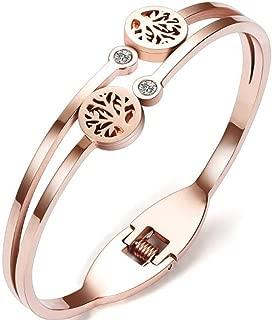 Stainless Steel Rose Gold Tree Life Bangle Bracelet
