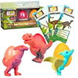 Animal Planet Super Grow Dinosaur Eggs 3 Pack - Dino Egg Toys Hatch and Grow to 3x Size in Water - Pterodactyl, Carnotaurus, & Parasaur w Educational Fact Cards