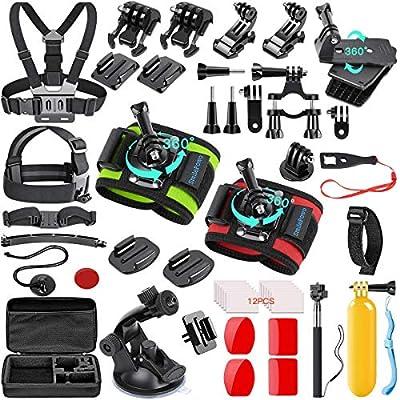 SmilePowo 51-in-1 Action Camera Accessories Kit for GoPro Hero 9 8 Max 7 6 5 4 3 3+ 2 1 Black GoPro 2018 Session Fusion Silver White Insta360 DJI AKASO APEMAN YI Campark XIAOMI Action Camera by SmilePowo