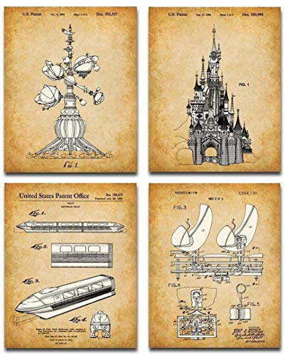 Original Disney Rides Patent Art Prints - Set of Four Photos (8x10) Unframed - Makes a Great Home Decor and Gift Under $20 for Disney Fans