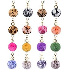 JOYYPOP 16 PCS Pom Poms Keychains Fluffy Faux Fur Colorful Pom Pom Balls for Girls Women (Leopard Mix Colors)
