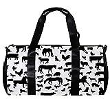 TIZORAX Bolsa de lona para mujer Hombres Animales de granja Silueta Deportes Gimnasio Bolsa de mano Fin de semana Bolsa de viaje al aire libre Bolsa de equipaje