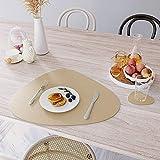 Platzset oval, Lederoptik Tischset und Untersetzer 4er-Set,wärmedämmend, schmutzabweisend, rutschfest, Tischset wasserdicht, waschbar, abwischbar,Bunte Tischset (Golden) - 8