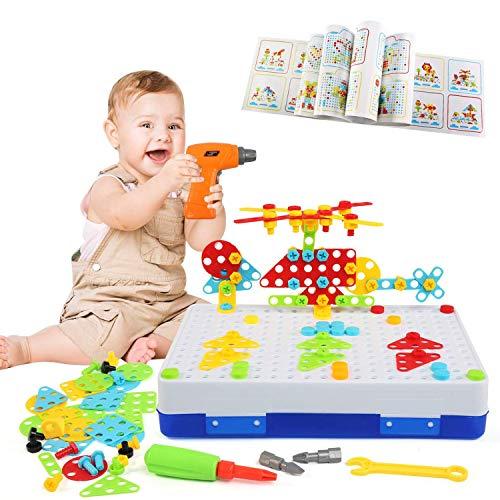 LEADSTAR Tablero de Mosaico Juguete, 237 PCS Bloques Construccion Rompecabezas, Bricolaje Puzzle Infantiles Creativos Juguetes, Eléctrico Desmontable 3D Caja Herramientas, Regalos para Niños