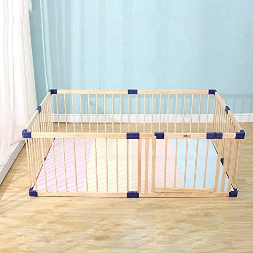 """Baby Playpen,Baby Play Yards,Playyard for Baby,Wooden Baby Fence Play Area with Locking Gate,Safe Baby Gate,Barrier,Fireplace Fence,Non-Slip, Adjustable Shape (62.99""""x70.87"""")"""