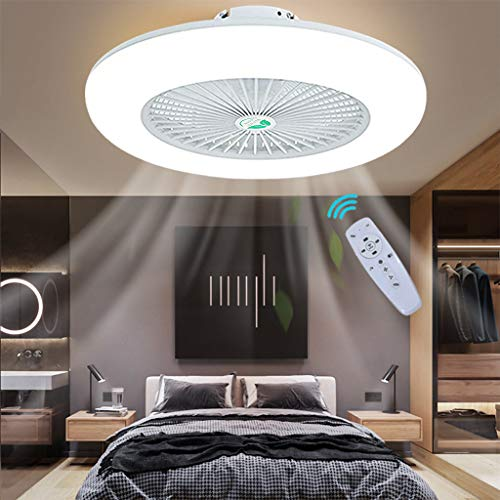 Ceiling Fan with Lights Lighting Negative Ion Fan LED Light Adjustable Wind Speed Remote Control Dimmable Fan Chandelier Modern 22 Inch Invisible Acrylic Bedroom Living Room Can Timing Hanging Lamp
