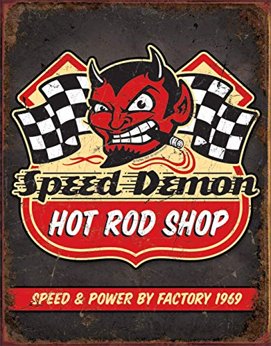 MAIYUAN Speed Demon Hot Rod Shop Metal Tin Signs Vintage Wall Craft Art for Decorating 12' x 8'
