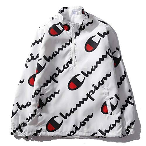 Herfst en Winter Hooded Sweatshirt Jas Hooded Pullover Unisex Hoodies Print Pullover Lente en Zomer Dunne Champion Print heren en vrouwen Coltrui Sweatshirt met zakken voor mannen XL Kleur: wit