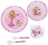 Bieco Baby Geschirrset Prinzessin | 5-teiliges Baby Geschirr | Kindergeschirr aus Melamin | Geschirr Baby für Kleinkinder | Baby Essen Set | Babygeschirr Set | bunt
