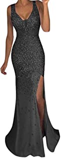 Women V Neck Sequined Prom Banquet Party Maxi Dress - Limsea Sexy Gold Solid Color Bridesmaid
