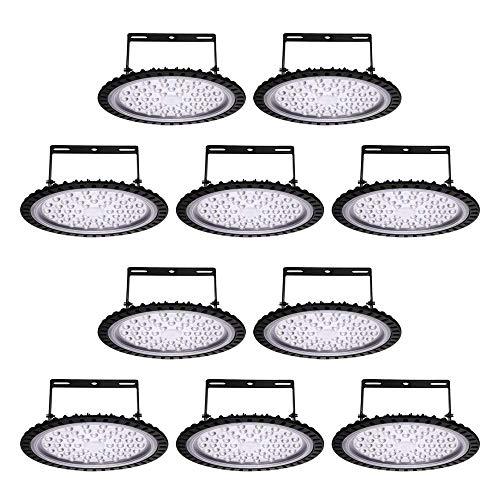Viugreum 10 Pack 200W UFO LED High Bay Lights, 20000LM 6500K Daylight White Ultra Thin Highbay Light Fixtures, 110V IP65 Waterproof Bay Lighting for Garage Factory Warehouse Gym