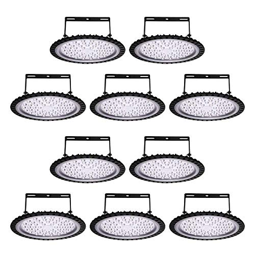 Viugreum 10 Pack 200W UFO LED High Bay Lights, 20000LM 6500K Daylight White Ultra Thin Highbay Light Fixtures, 110V IP65 Waterproof Bay Lighting for Garage Factory Warehouse Gym