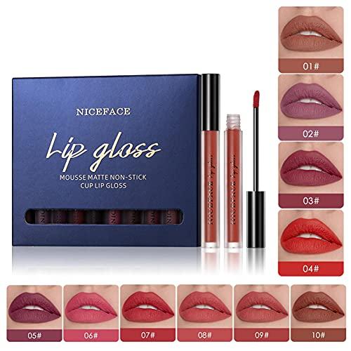 chengfang 10pcs/Set Makeup Matte Lipstick Lip Kit, Velvety Liquid Lipstick Waterproof Long Lasting Durable Nude Lip Gloss Beauty Cosmetics Set, Liquid Lipstick Set