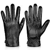 Genuine Sheepskin Leather Gloves For Men, Winter Warm Touchscreen Texting...