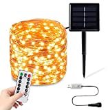 Outdoor Solar String Light, 66ft 2Pack Total 400 LED Fairy Lamp with 8 Mode Waterproof Landscape Lighting Decoration Copper Wire Lantern for Patio Yard Tree Christmas Wedding Party
