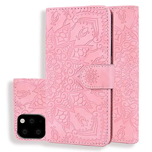 "XINYIYI Funda iPhone 11 Pro(5.8"") Funda Bookstyle en Relieve Funda de Color sólido Funda de Cuero PU Funda Protectora Cartera Funda de Silicona TPU -Rosa"
