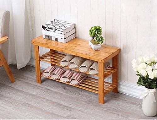 Estante de zapatos de 2 niveles Bambú natural de madera, Organizador de almacenamiento de almacenamiento de estantes de zapatos simple, Multilayer Cambiar El Taburete de zapatos Estante de almacenamie