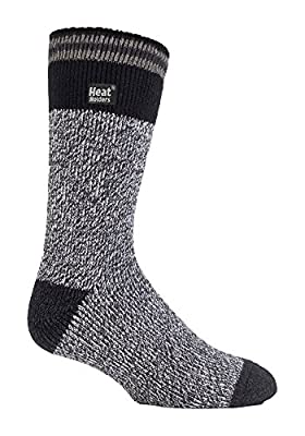 Heat Holders - Mens New Patterned Warm Winter Striped Twist Thermal Socks in 10 colours, size 6-11 UK 39-45 Eur