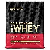 Optimum Nutrition Gold Standard 100% Whey Proteína en Polvo, Glutamina y Aminoácidos Naturales, BCAA, Helado de Vainilla, 151 Porciones, 4,54kg, Embalaje Puede Variar