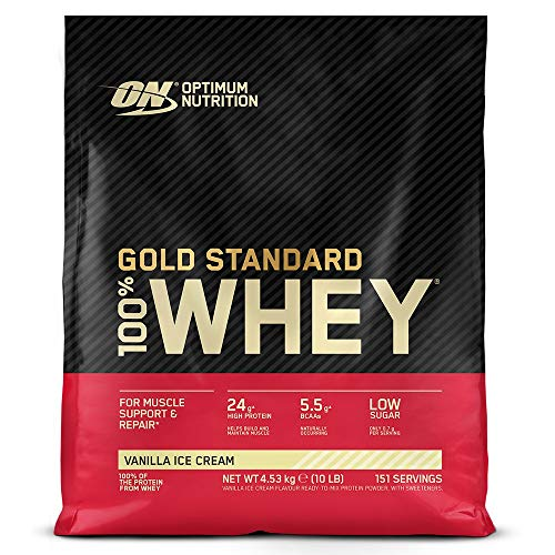 Optimum Nutrition ON Gold Standard 100% Whey Proteína en Polvo Suplementos Deportivos, Glutamina y Aminoacidos, BCAA, Helado de Vainilla, 151 porciones, 4.53 kg, Embalaje puede variar