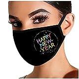Rmoon 2021 Happy New Year Strass GläNzend Mund Nasenschutz, Damen Waschbar Mit Motiv Baumwolle Glitzer Wiederverwendbar Atmungsaktiv Mund Und Nasenschutz Stoff (E)