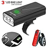 EBUYFIRE USB Rechargeable Bike Light Set, 3000 Lumens Bike Headlight 3 LED【Upgrade Mount】,Super Bright Headlight Front Lights and Back Rear LED,3 Light Mode Fits All Bicycles, Mountain,Road