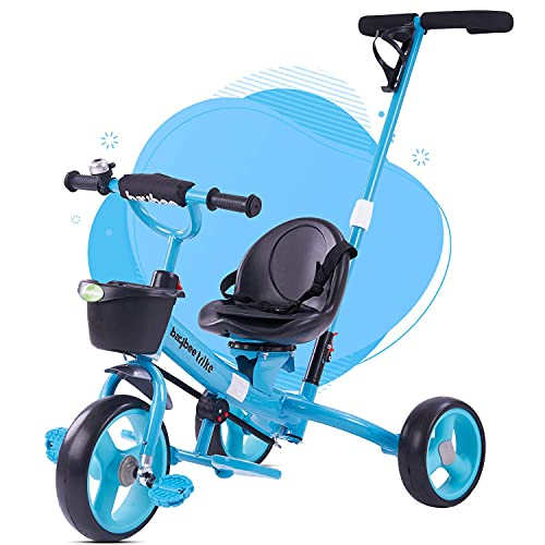 GoodLuck Baybee Breeze 2 in 1 Kids Tricycle Convertible Baby Tricycle Kid's Trike with Parental Adjust Push Handle Children with Seat Belt Kid's Ride Outdoor   Suitable for Boys & Girls-Blue