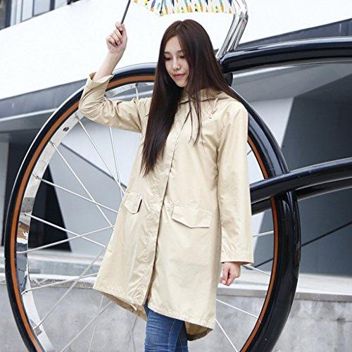 Vestes anti-pluie QFF Adulte Raincoat Femmes Mode à Pied Poncho Long Section Imperméable Respirant Windbreaker Outdoor Escalade (Couleur : Kaki)