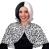 Capa con estampado dalmático para mujer + peluca negra y blanca, accesorio para disfraz de perro malvado, para la escuela y el día mundial del libro (tamaño estándar)