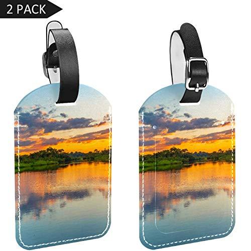 LORVIES Reflejo de un atardecer Amazon Rainforest Basin, etiquetas de viaje, etiquetas de nombre, tarjeta titular para maletas de equipaje, mochilas, 2 unidades