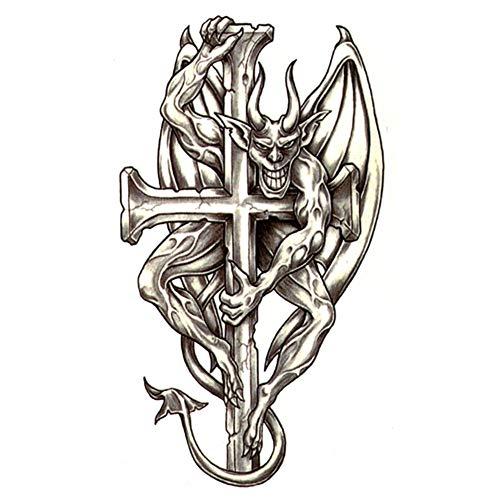 EROSPA® Tattoo-Bogen temporär / Sticker - Teufel am Kreuz - Wasserfest