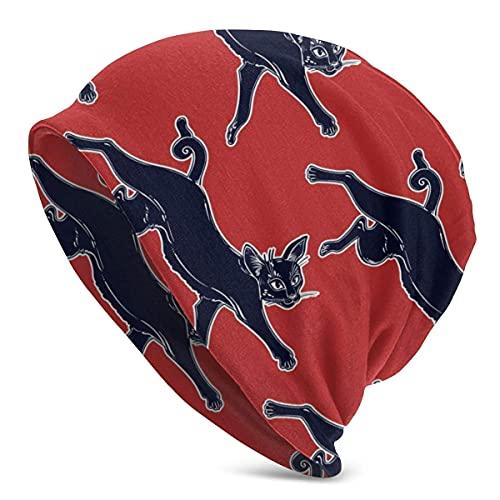 Gorro Beanie con patrón de Salto de Gato Negro para Hombres y Mujeres Sombreros cálidos de Invierno
