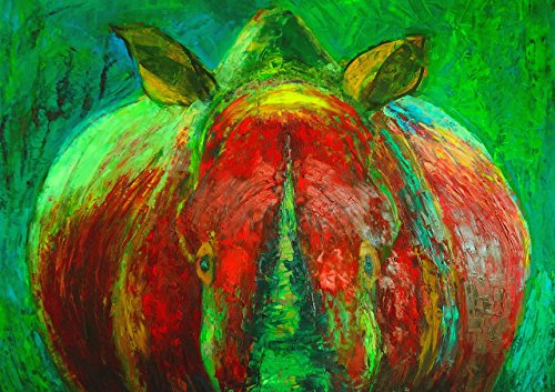 Red and Green Painting for Wall Rhino Animal Art POSTER A3 Print Nature Artwork Modern Expressionism Home Decor Rhinoceros