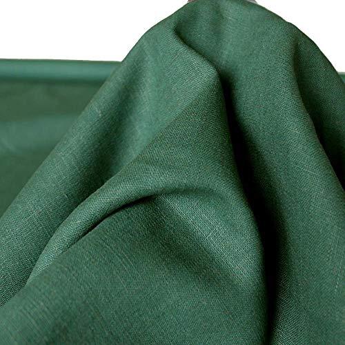 TOLKO 50cm Leinen-Stoff als Meterware | blickdichter Naturstoff | für Hose Rock Bluse Kleider Gewänder | fein gewebter Dekostoff für Vorhänge Gardinen und Dekorationen | 140cm breit (Moos-Grün)