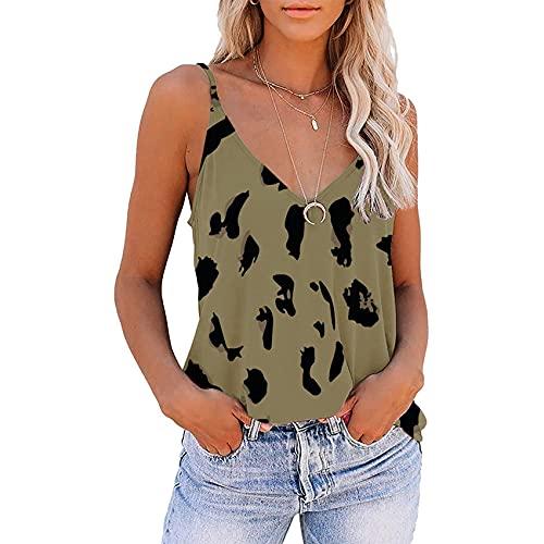Wsgyj52hua 2021 Verano Mujeres Europeas Y Americanas Sexy Camisola Sin Mangas con Cuello En V Estampado De Leopardo Camiseta Blusa