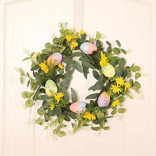 Wreath Easter Decoration Wreath, Simulation Egg Eucalyptus Garland,Easter Cross Wreath Spring Easter Decoration With Artificial Leaves And Flowers For Front Door, Wall Decor
