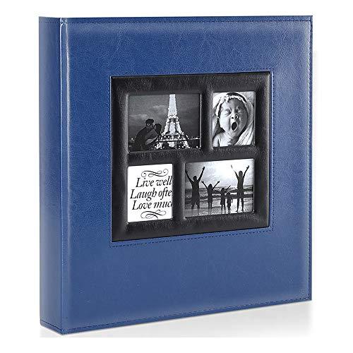 Benjia Fotoalbum, 500 Hüllen, 15,2 x 10,2 cm, extra groß, Ledereinband, Hochzeit, Familien-Fotoalbum, für 500 Fotos à 10 x 15 cm Blau 2