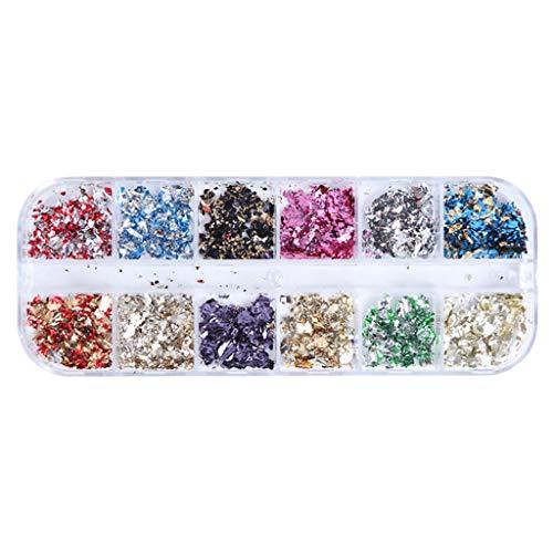 MERIGLARE Butterfly Box Glitter Nails Mariposa Holográfica Pegatinas de 12 - CBH