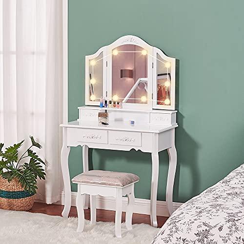 Mesa de tocador con espejo iluminado y triple plegable, tocador de maquillaje...
