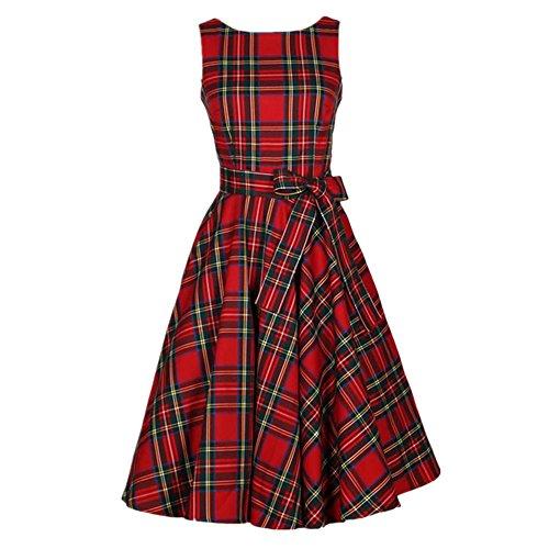 50s Vestidos Vintage Elegante Ceremonia de Boda Fiesta Mujer Vestido Retro Escocés Plaid Vestido sin mangas de la vendimia (L, Rojo)